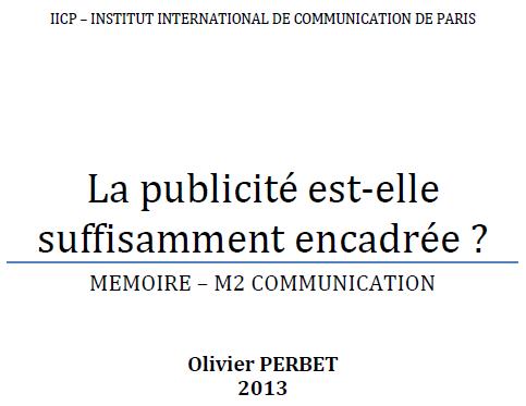 Memoire Olivier Perbet - Encadrer la publicité