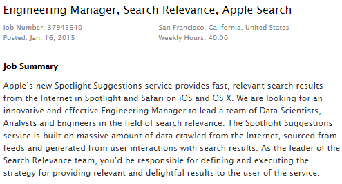 Emploi - Apple Search Relevance