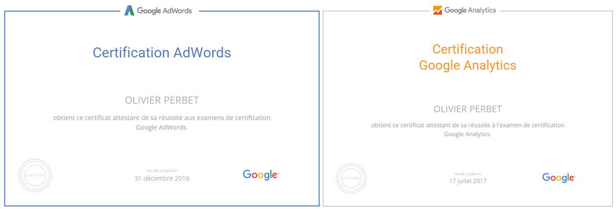 certifications AdWords et Analytics Olivier Perbet