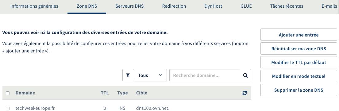 Zone DNS d'un site chez OVH