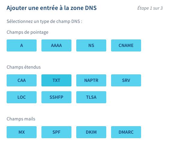 Zone DNS chez OVH - Entrée champ TXT
