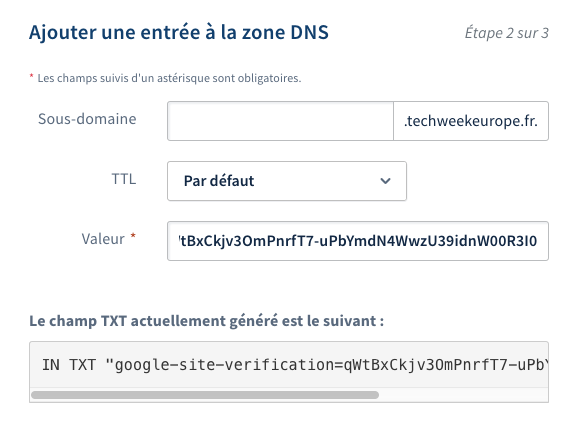 Zone DNS OVH - Champ TXT